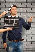 Director Clapping The Clapper Board, Indoor poster