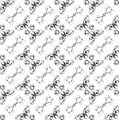 Vintage star shaped tiles seamless pattern, monochrome background poster