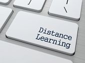 Distance Learning Button on Modern Computer Keyboard with Word Partners on It. poster