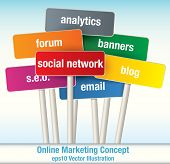 Collection of Vector Signposts with the theme of Online Marketing poster