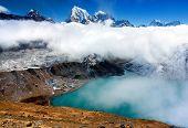 Dudh Pokhari lake, Gokyo, Arakam Tse peak, Chola Tse peak and Ngozumba glacier - way to Cho Oyu base camp - Everest trek - nepal poster