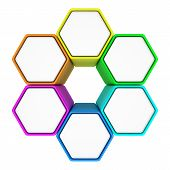 Group of six hexagons with copy space for text connected like a honeycomb poster
