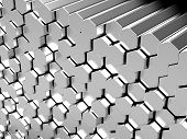 Shiny hexagon metal bars abstract background 3D rendering poster