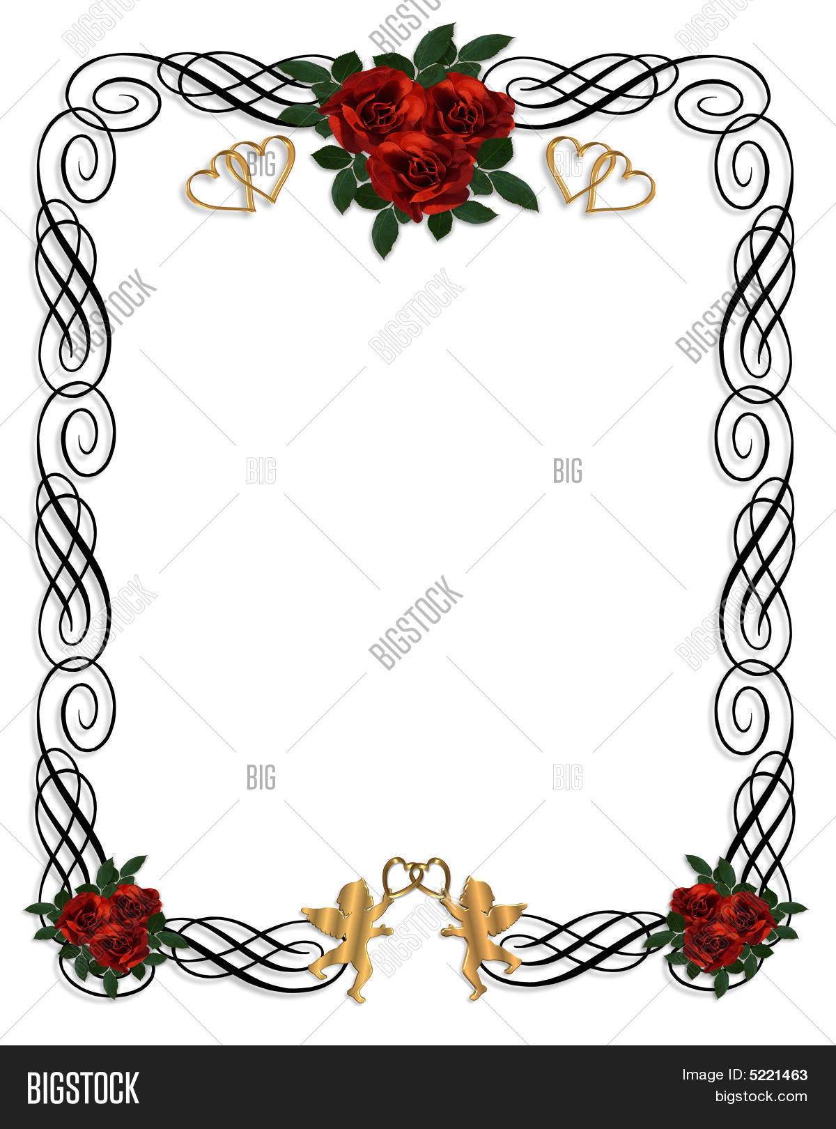 Red Roses Wedding Invitation Image & Photo   Bigstock