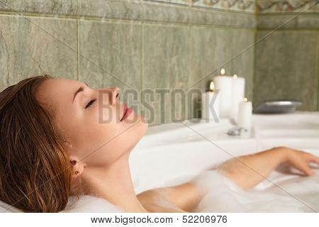 Woman In Bath Relaxing