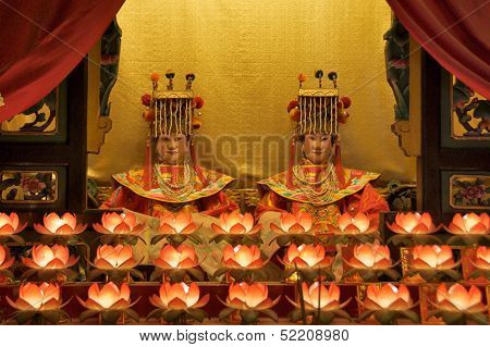 Hong Kong, China, November 19: Buddhist Goddess Worshipped in Tin Hau Temple on November 19, 2011