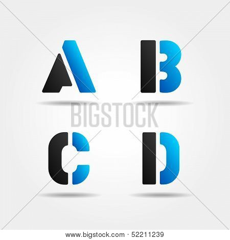ABCD blue stencil letters