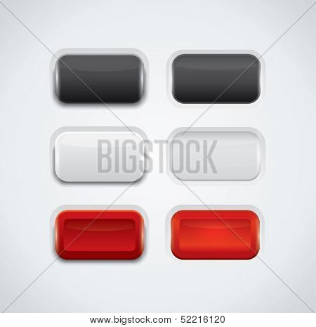 UI push buttons, black, red and white variations with rollover