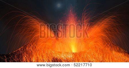 Stromboli Volcano erupting at night