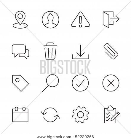 Stroked interface icon set.