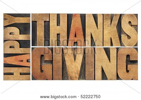 happy thanksgiving - greetings or wishes - isolated word abstract in vintage letterpress wood type blocks poster