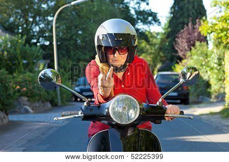 Crotchety Old Lady On A Scooter