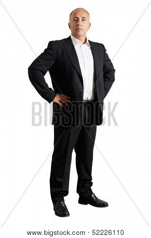 earnest business man over white background
