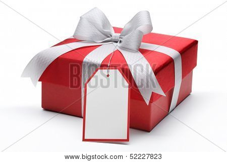 Red gift box with silver bow and tag