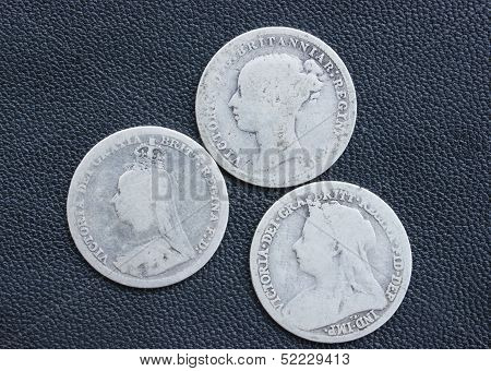 Threepence, silver coin, Victoria, British.