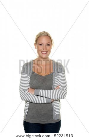sympathetic young woman standing against white background. half figure. symbolic picture for today's youth