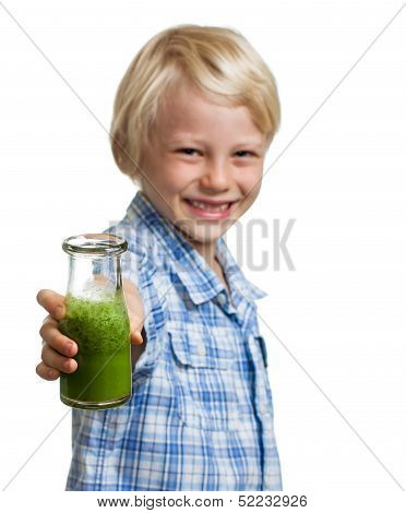Smiling Boy Holding Bottle Of Green Smoothie