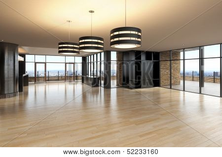 Empty room of business, or residence