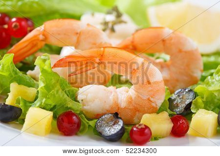 dish of fresh cooked shrimps with salad