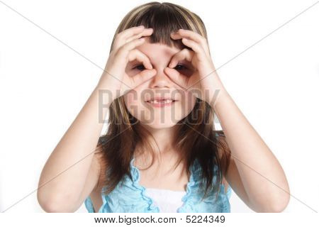 A young girl tries to get a better perspective. All isolated on white background. poster