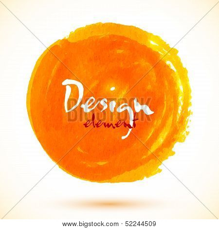 Bright orange watercolor vector circle
