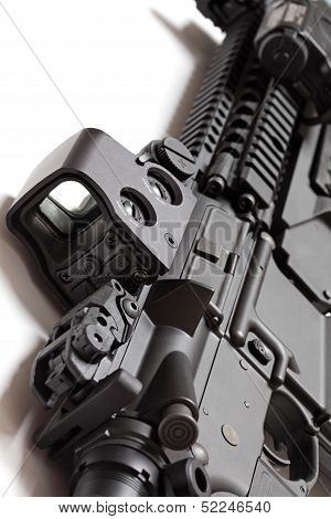 Modern Tactical Laser Sght On Assault Carbine Close-up.