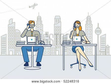 Men And Woman Working In A Office