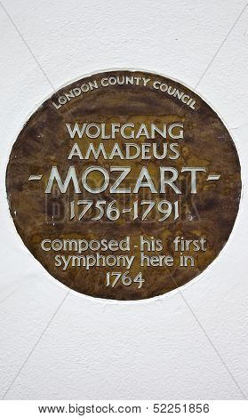 Wolfgang Amadeus Mozart Plaque In London