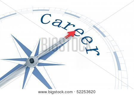 An image of a nice blue compass with the word Career poster
