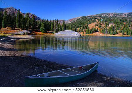 Scenic landscape of lake Irwin in Colorado
