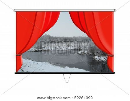 beautiful screen with red curtains