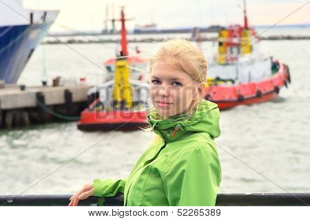 Young Woman Traveling On Ship