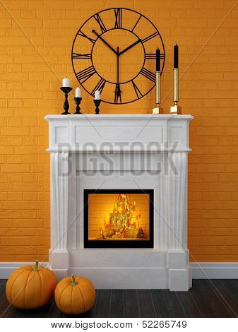White Fireplace Decorated For Halloween