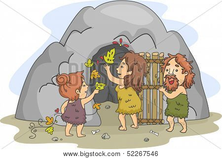 Illustration of a Caveman Family Decorating the Cave That Serves as Their Home
