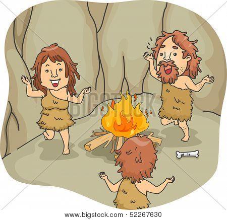 Illustration of a Caveman Family Dancing Around a Bonfire