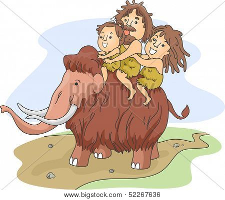 Illustration of a Caveman Family Riding a Wooly Mammoth