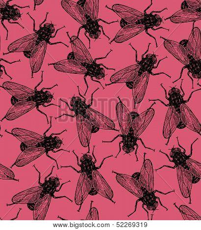 Seamless vector flies pattern
