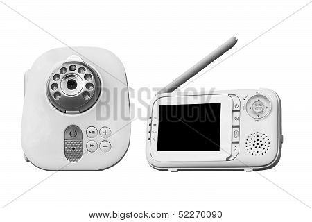 The clouse-up baby monitor for security of the baby on a white background poster