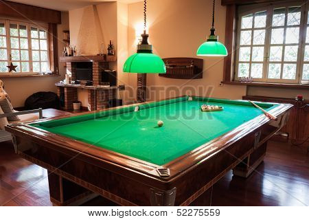 Billiard Table With Mock Tiger Skin Rug
