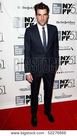 NEW YORK- OCT 8: Actor Zachary Quinto attends the premiere of