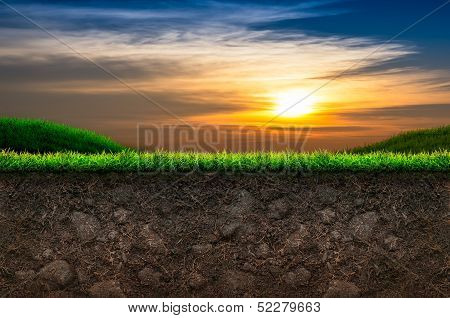 Soil And Grass In Sunset Background