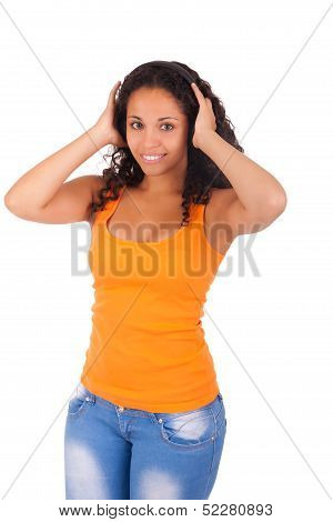 Woman Listening To Music With Headphones
