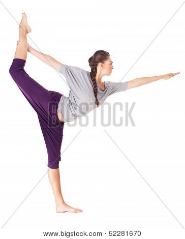 Young Woman Doing Yoga Asana Natarajasana (lord Of The Dance Pose). Isolated On White