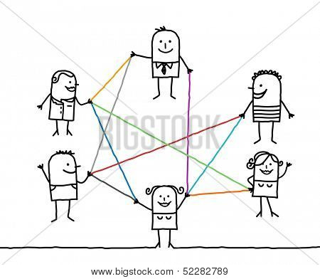group of people connected by color lines