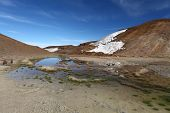 Volcano Krafla in Iceland with small lake poster