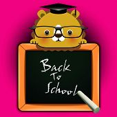 """Vector background with funny lion around a blackboard with the words """"Back to school!"""" poster"""