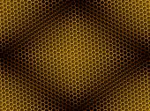 Seamless golden honeycomb on brown background with light effect. poster