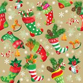 X-mas and New Year background with Christmas stockings. Seamless pattern for holiday design. poster