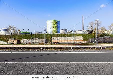 FRANKFURT - GERMANY,  OCTOBER 17: wagons for transportation of chemicals inside the Industry Park on October 17 2011 in Frankfurt Germany. Carstrains and ships are available for transport inside the park.