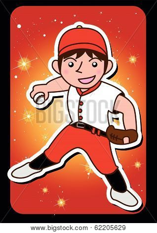one man baseball player cartoon